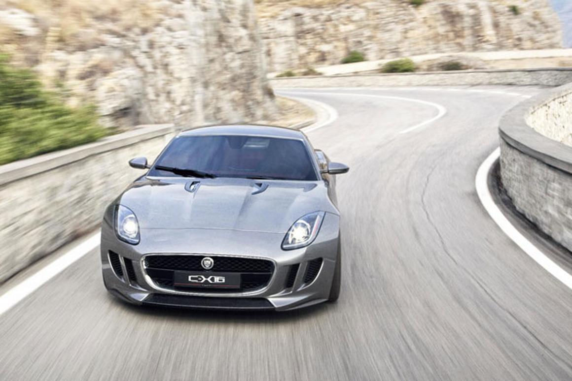 The Jaguar C-X16 production concept sports car on the road