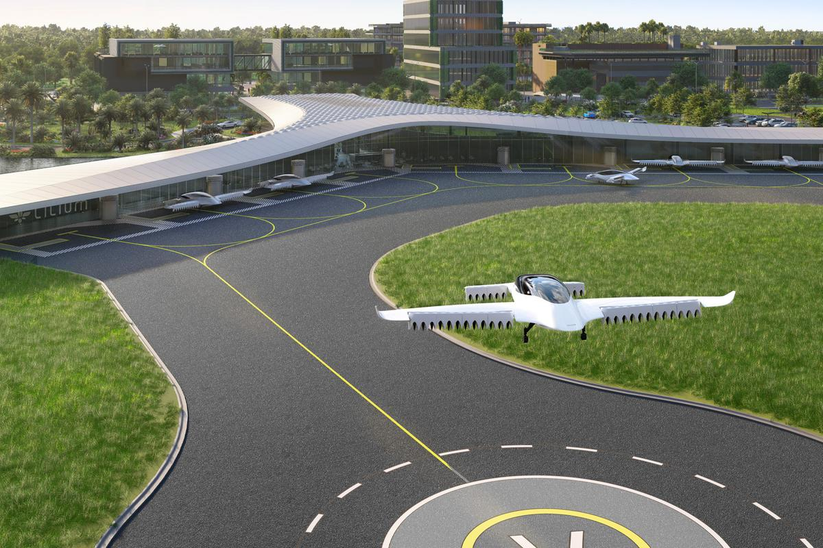 A render of one of Lilium's vertiports