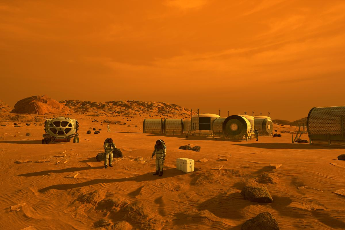 Artist's concept of a future Mars outpost