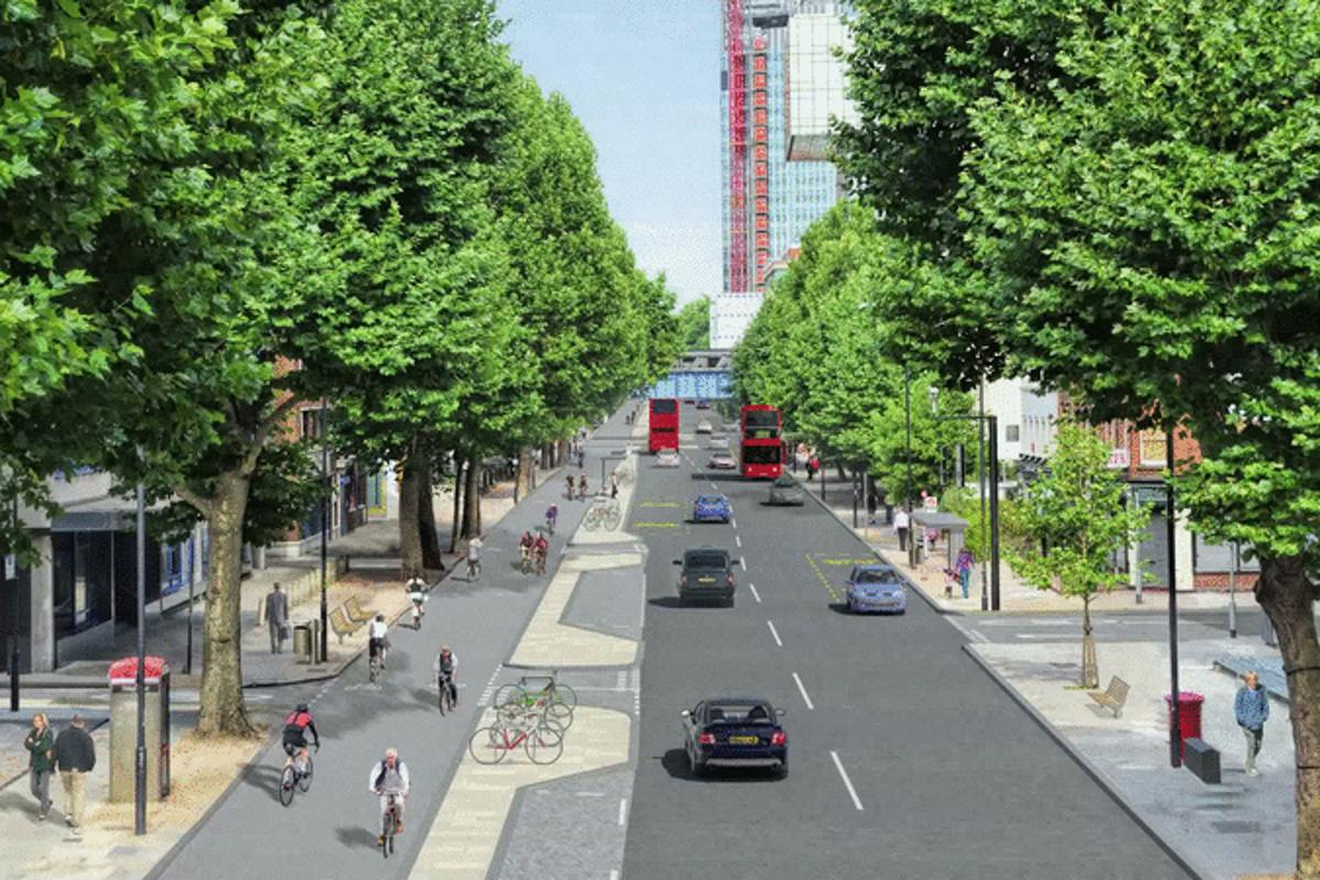 Render depicting the new Cycling Superhighway on Blackfriars Road, London (Image: Transport for London)