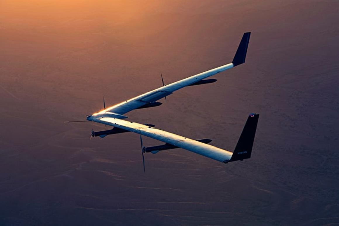 The prototype Aquila drone on one of its two test flights
