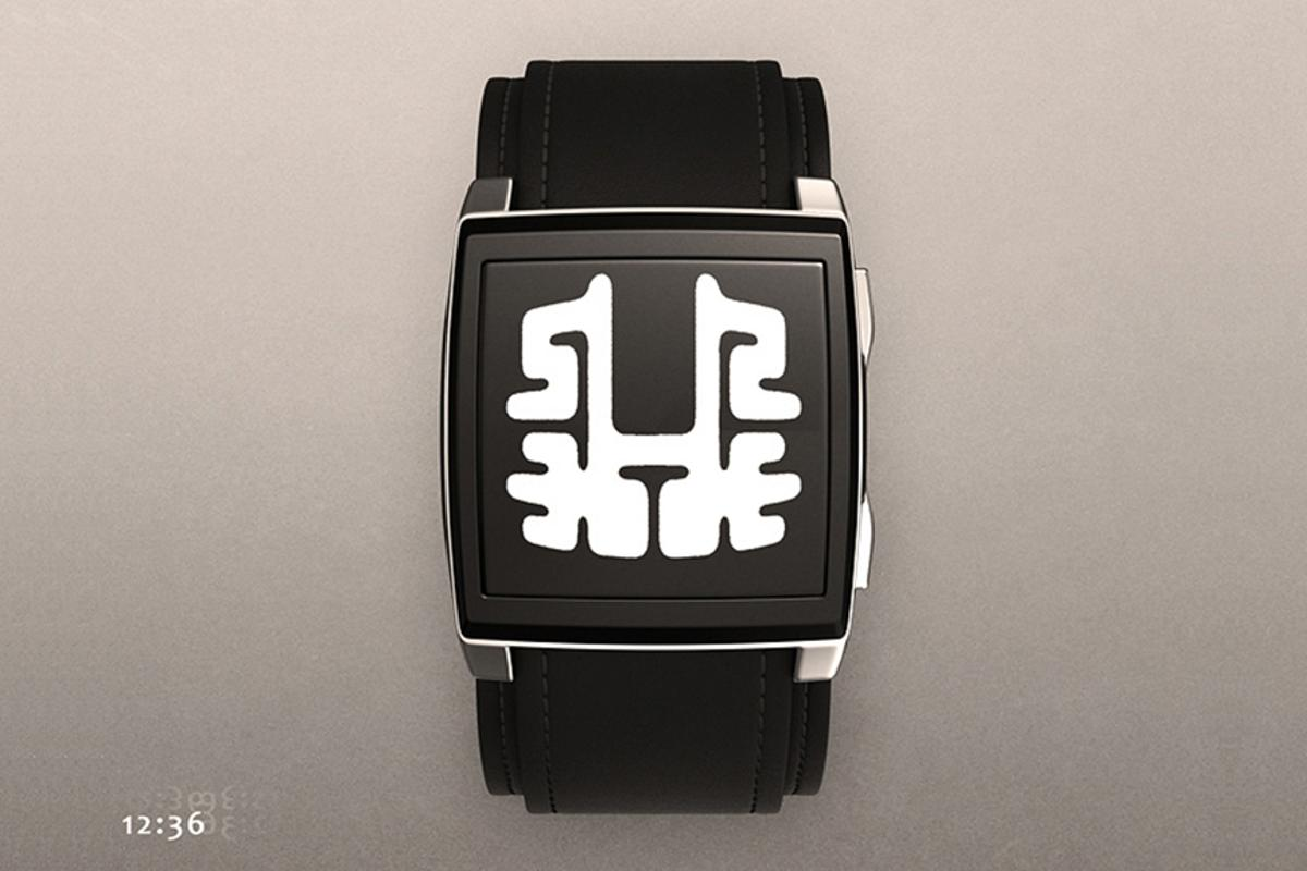 The Rorschach test watch as seen in black, with the time easy to figure out once you know the methodology