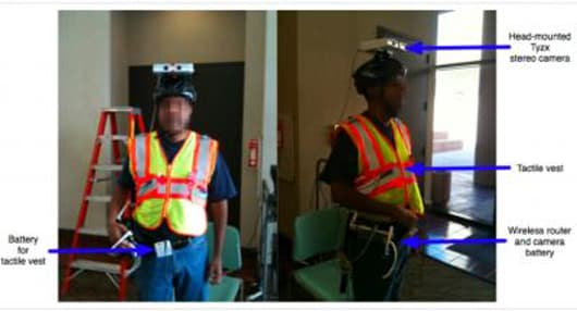 The system comprises a binocular camera linked by sophisticated direction finding software to a vest that signals where to go (Image: USC Viterbi School of Engineering)
