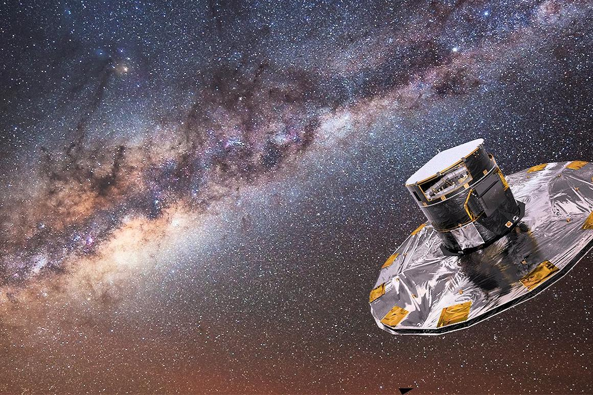 Gaia mapping the stars of the Milky Way (Photo: ESA/ATG medialab; background image: ESO/S. Brunier)