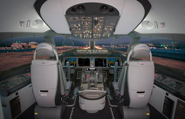 Pilot's view from the 787 cockpit (Photo: Boeing)