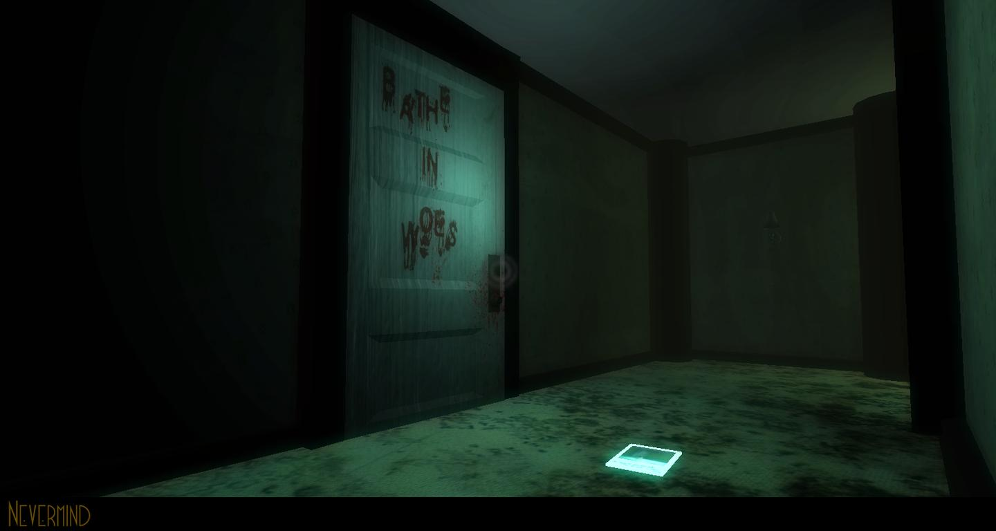A blood-spattered door (Photo: Nevermind)
