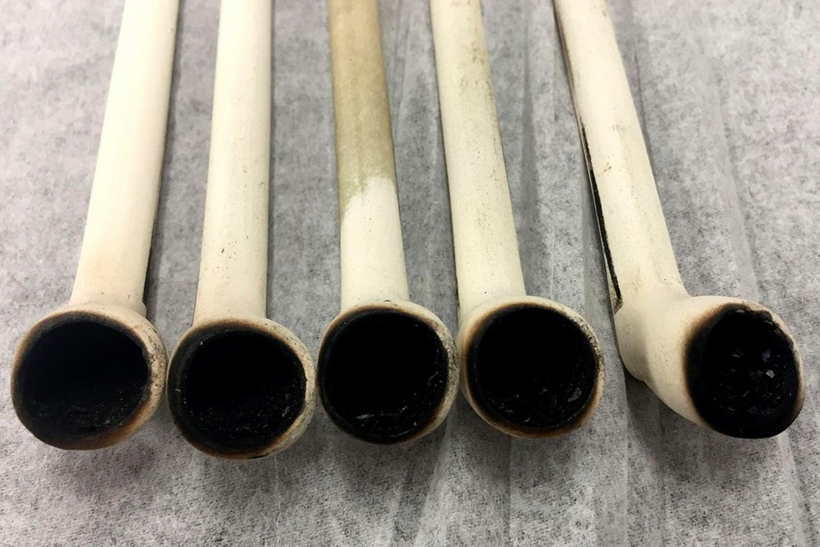 "Replica pipes used to experimentally ""smoke"" tobacco and other native plants in WSU laboratories for the study"