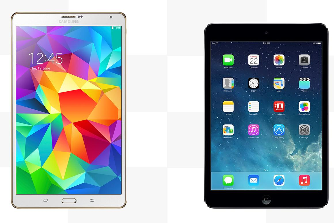 Gizmag compares the features and specs of the Samsung Galaxy Tab S 8.4 and the Apple iPad mini with Retina Display