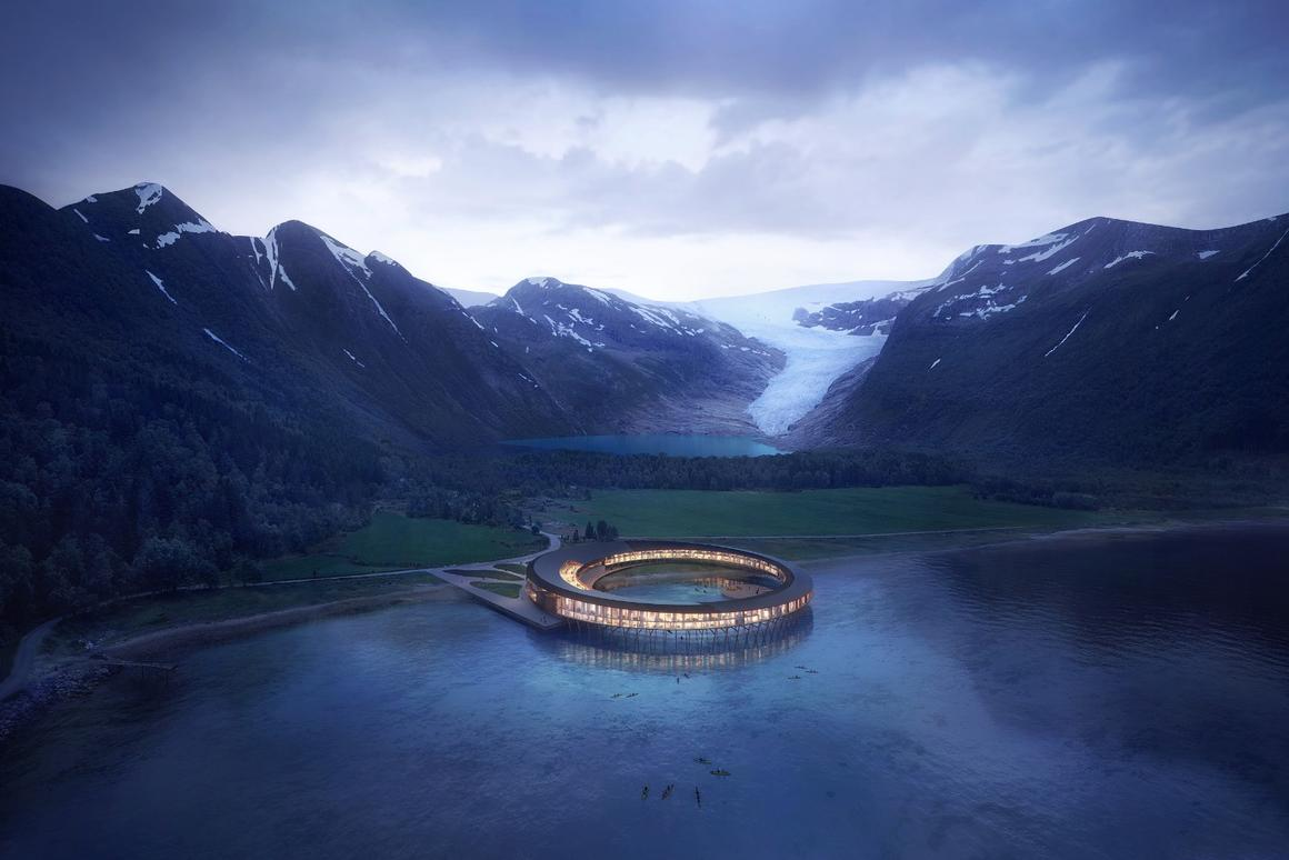 Snøhetta's architects spent a year mapping the way solar radiation bounces around the site's mountainous terrain as part of the planning for the Svart hotel