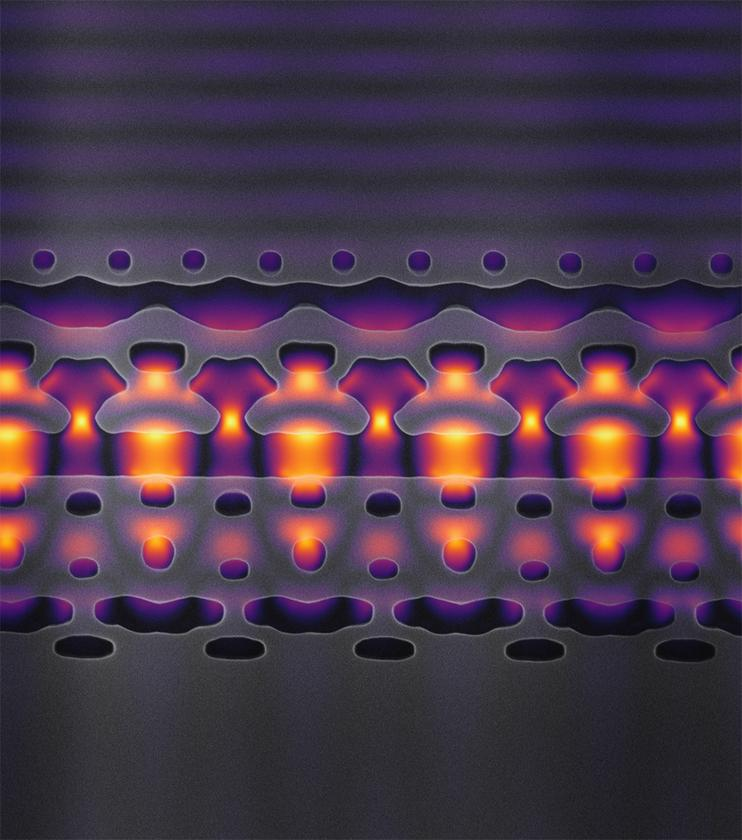 Magnified 25,000 times, this image shows the structure of the channel in Stanford's new particle accelerator-on-a-chip