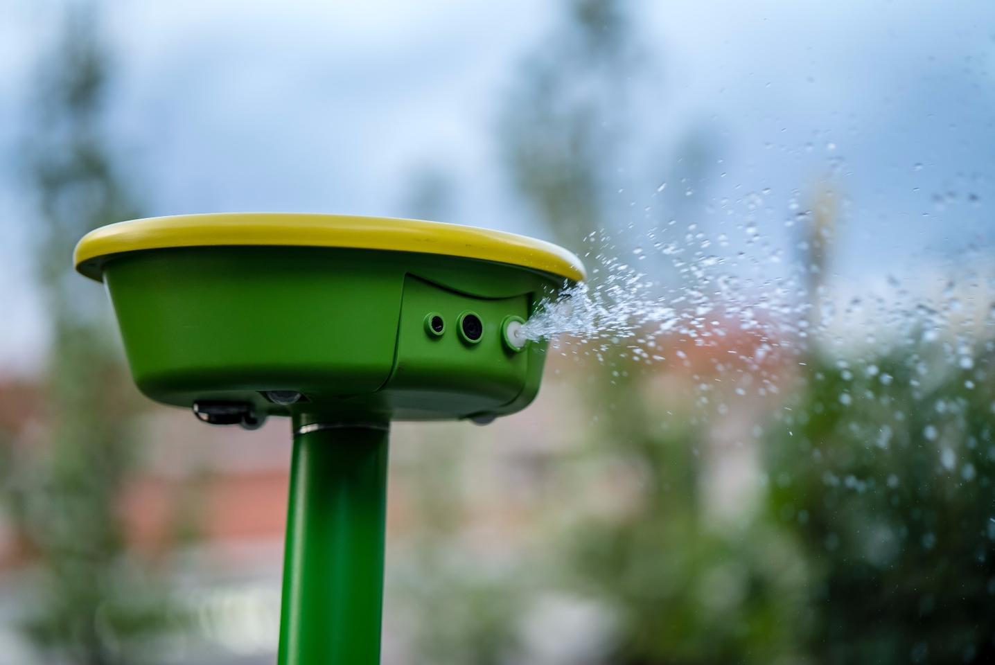 GardenSpace shoots water from a nozzle beside its 360-degree camera