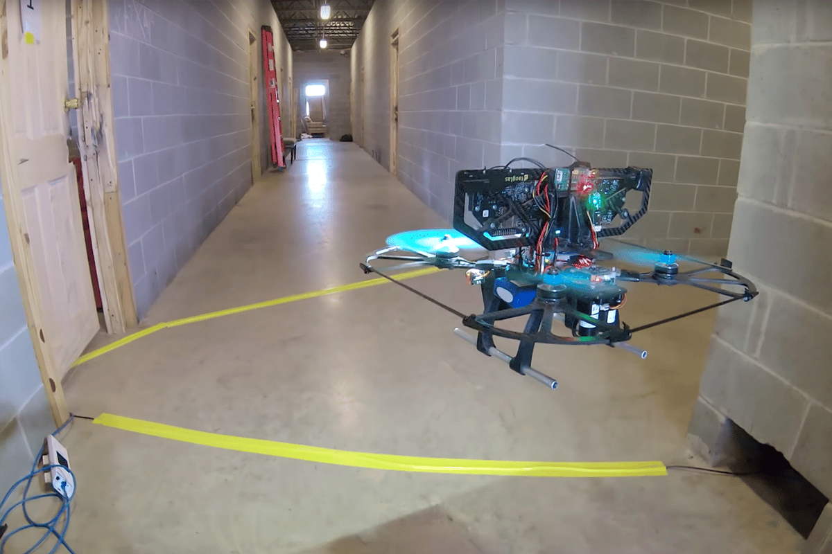 A DARPA FLA UAV negotiates an indoor course at high speed