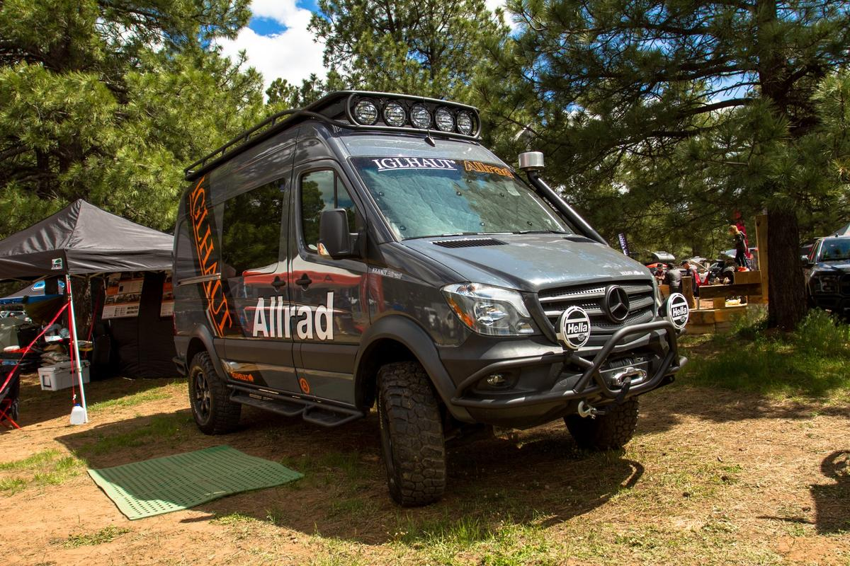 Iglhaut turns the Mercedes Sprinter into a more proper off-road-ready 4x4, adding an off-road gear reduction,differential locks and more