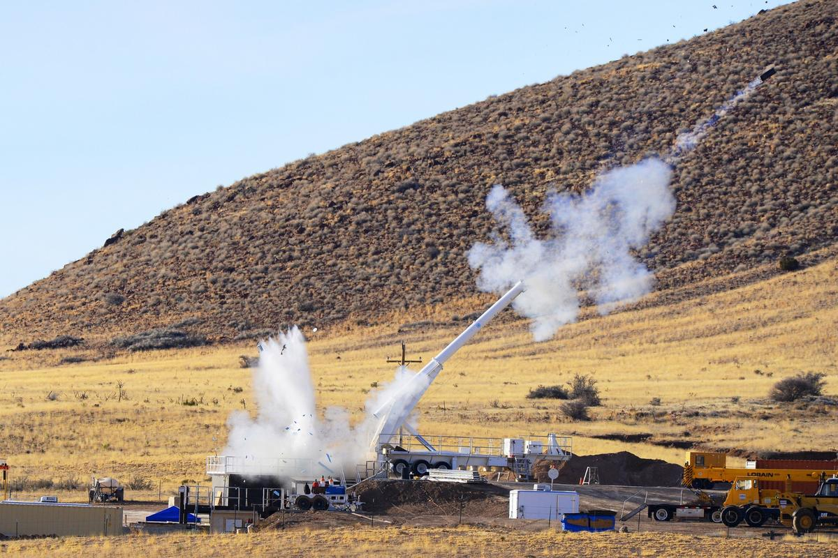 The test fire of the mock warhead showing the reaction mass being ejected