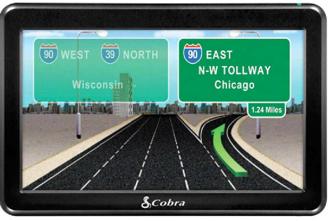 """The Cobra 7750 Platinum navigation unit is designed for truck drivers, it features a large 7"""" screen, 3D map renderings of difficult intersections and 33,000 trucker points of interest"""