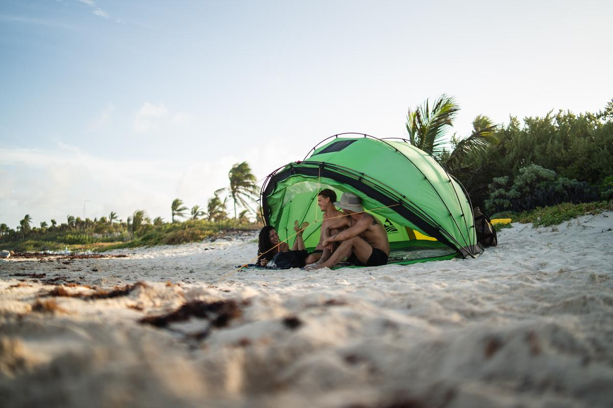 The Campo Escape M4 is both a tent and an open sun shelter