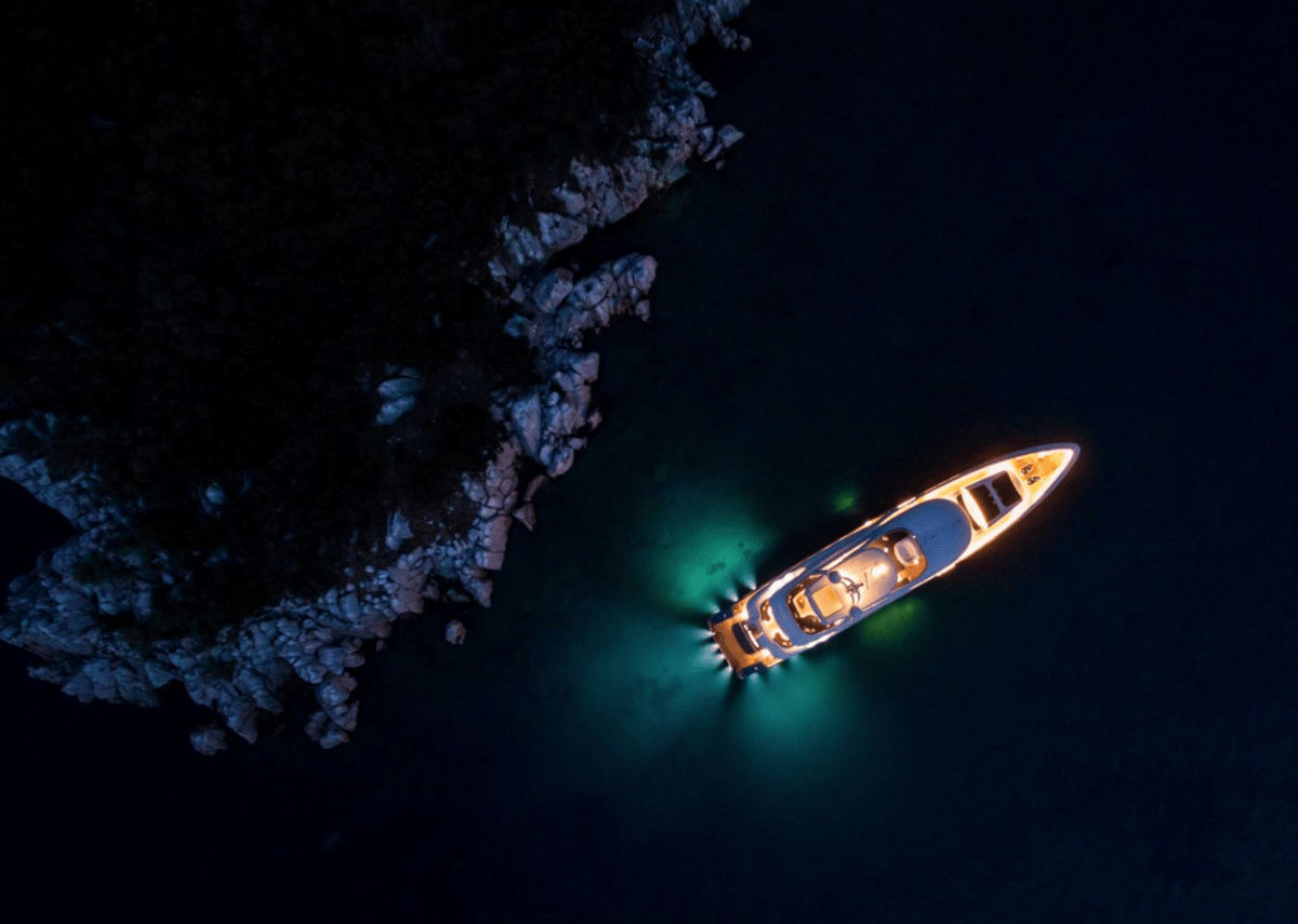 Night Lightsis oneof SkyPixel's selected picks for thebest drone photos taken so farthis year, andcaptures a private superyacht floating through the night