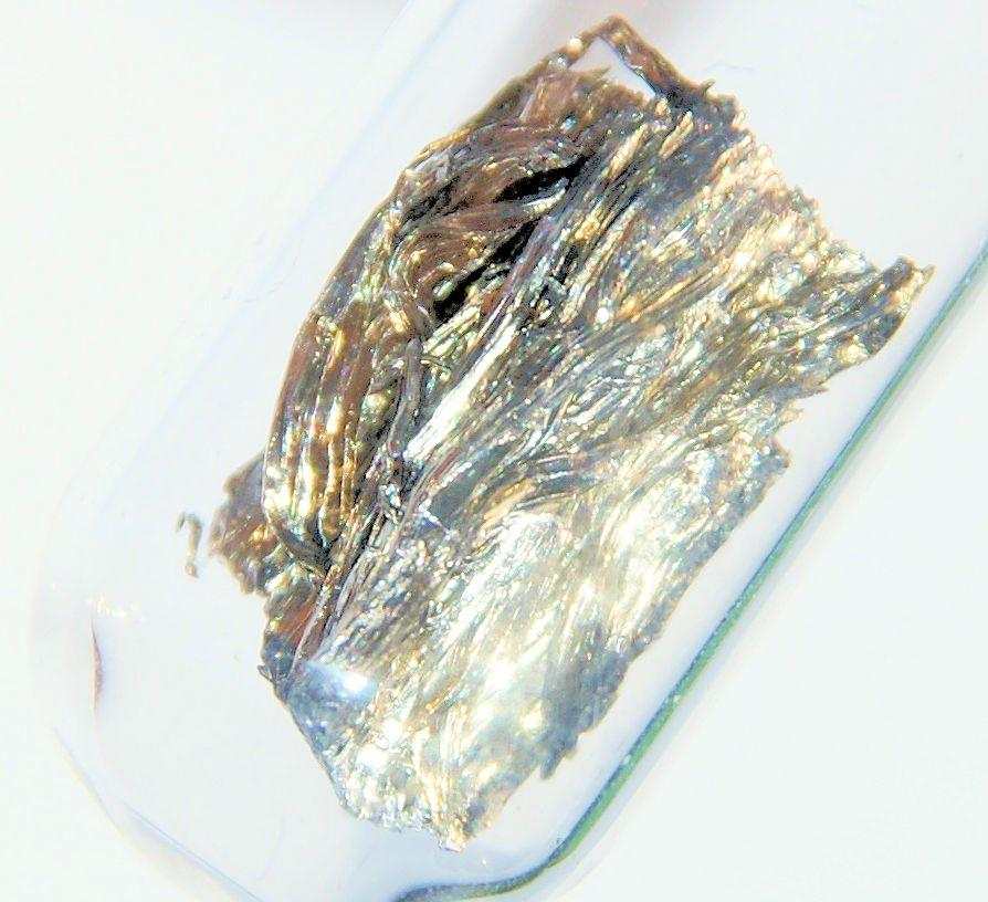 The rare earth metal samarium, while silvery in appearance, quickly tarnishes in air (Photo: Images of Elements)