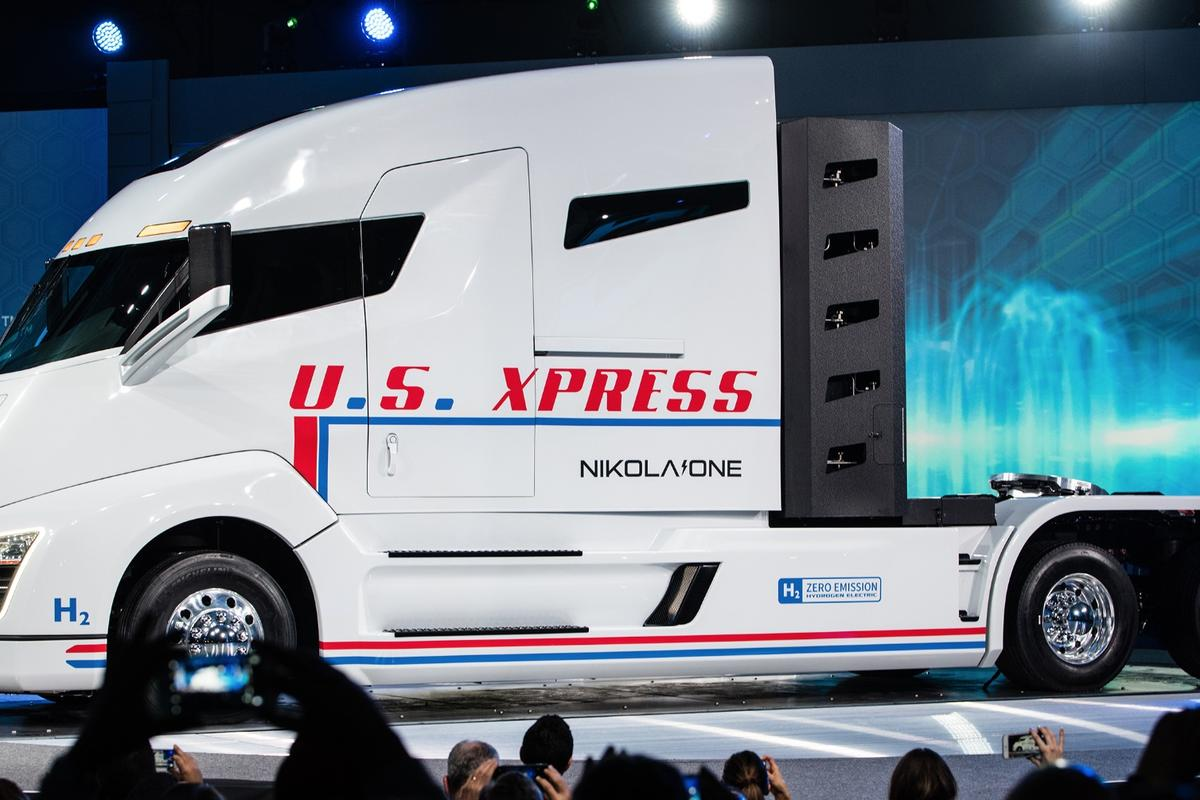 The Nikola One hydrogen fuel cell truck was revealed at the brand's event in Salt Lake City on December 1