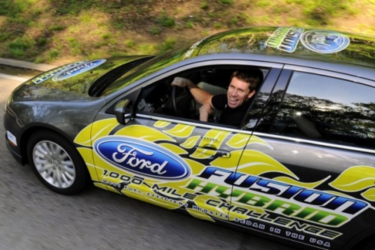NASCAR Star Carl Edwards at the wheel (Photo: Sam VarnHagen/Ford Motor Co.)