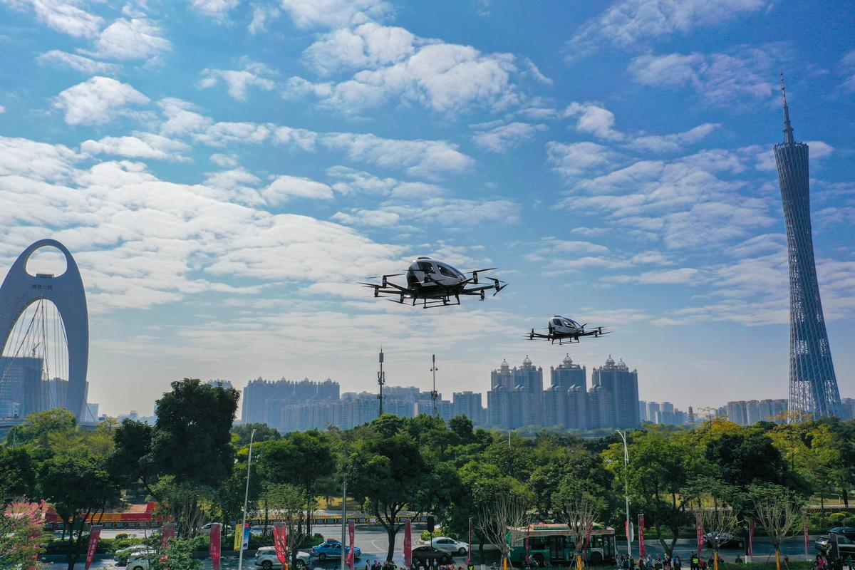Ehang demonstrating the 216 pilotless air taxi for in-city commercial sightseeing