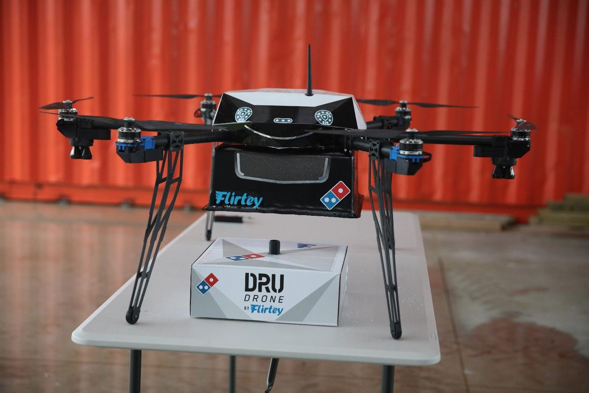 The pizza giant will use US-based drone startup Flirtey's aircraft for the service