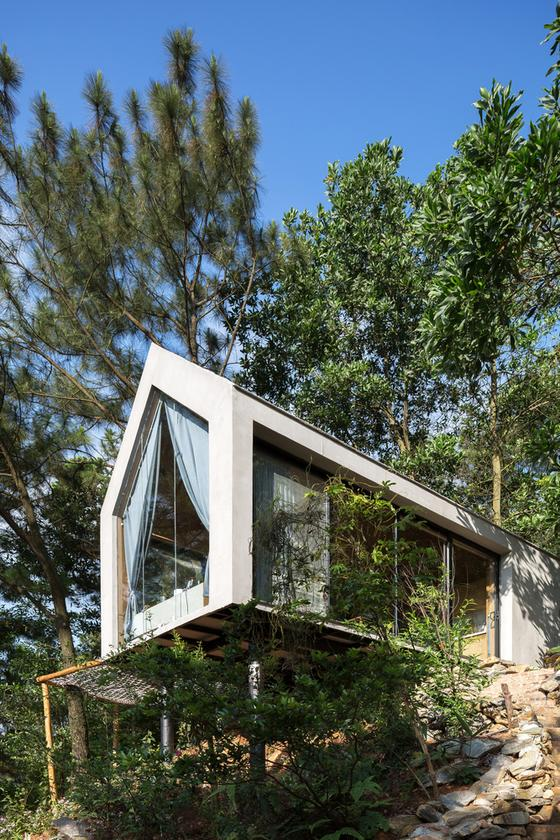 The gorgeous Forest House 02 sits on two steel pillars
