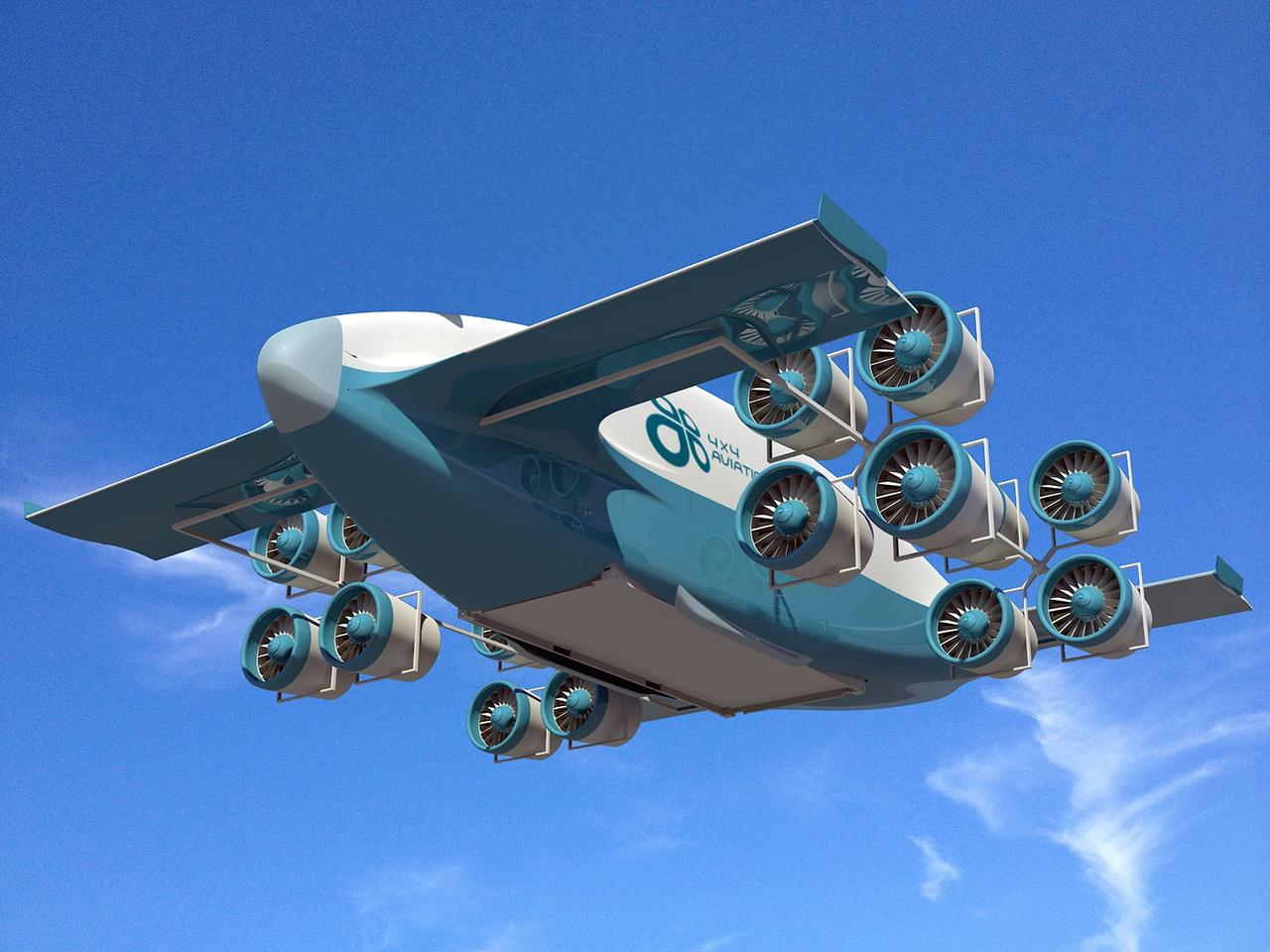 A hybrid VTOL cargo plane concept by 4x4 Aviation is intended to carry truck-sized loads at nearly 200 mph (320 km/h)