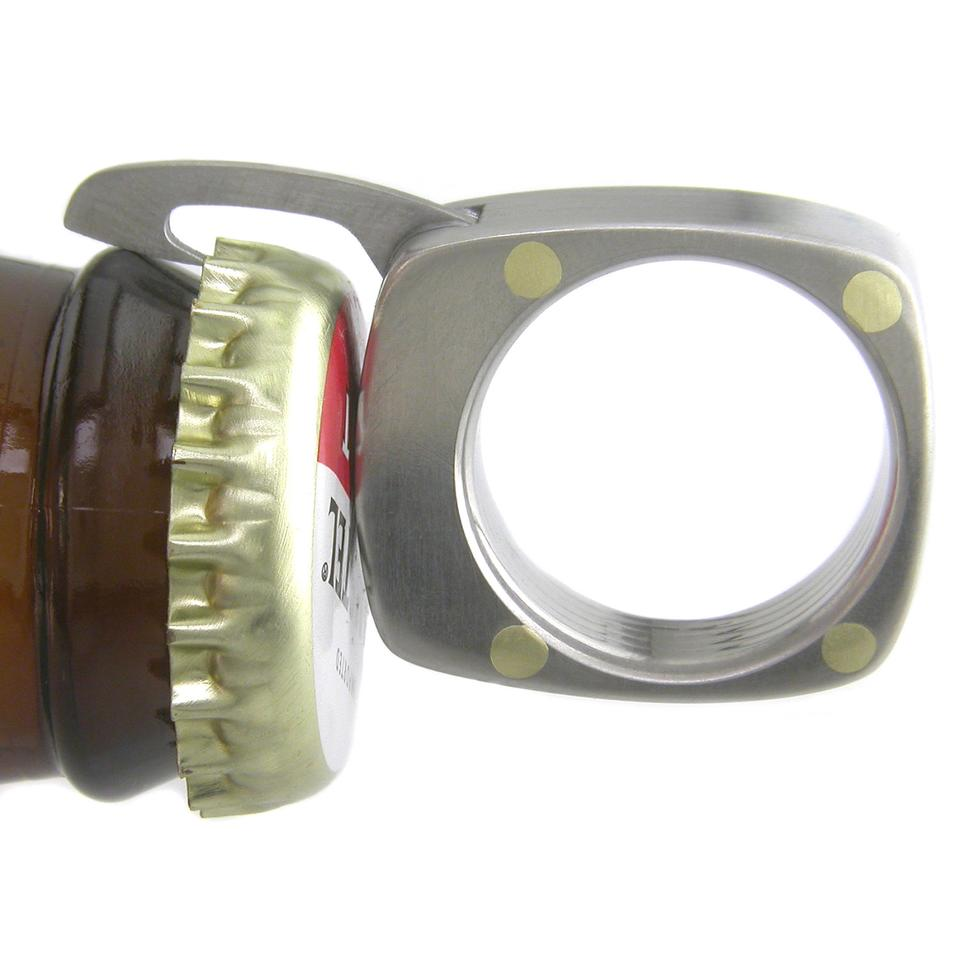 The Titanium Utility Ring's bottle opener