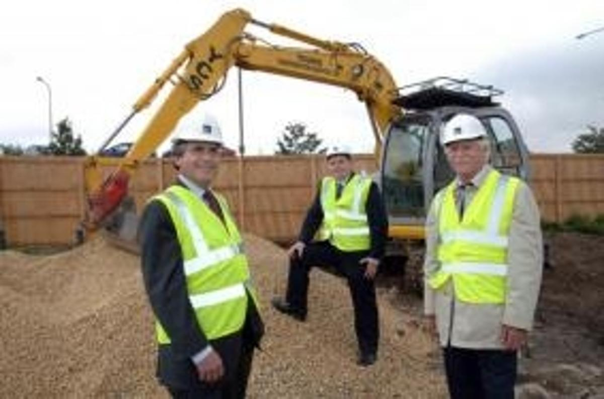 From left to right Rod MacGillivray, Managing Director of Avebury, Alan Prole, Managing Director of Live Smart @ Home, and Councillor Malcolm Graham, Gateshead Council's Cabinet Member with responsibility for Sustainable Communities, at the BoKlok site in