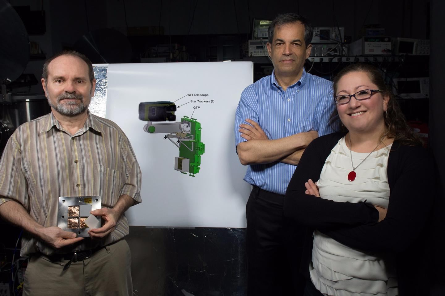 Goddard Principal Investigator Jordan Camp (center) and Co-Investigator Judy Racusin with Deputy Principal Investigator Scott Barthelmy (left) holding the micro-channel optic