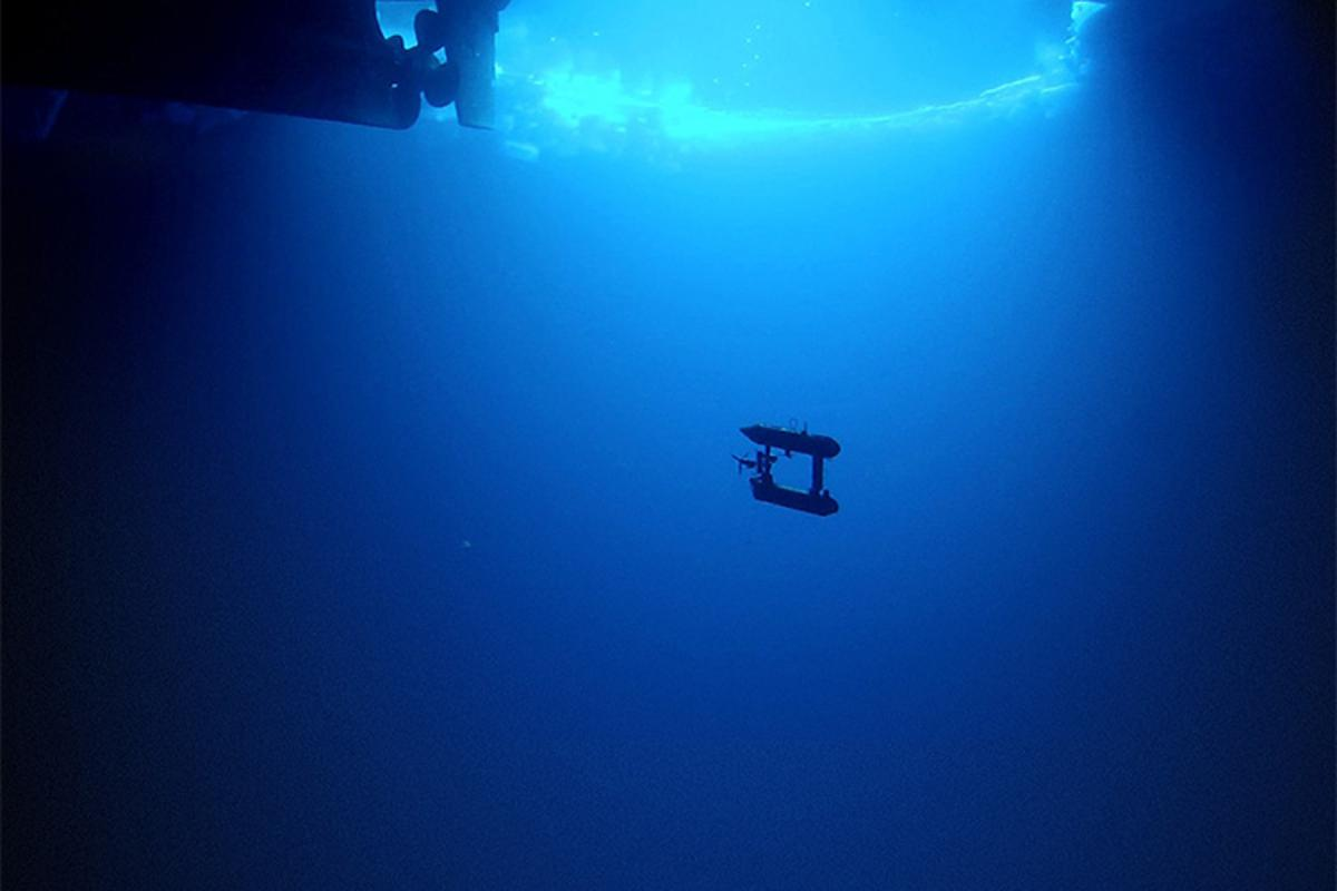 The SeaBED AUV mapping a previously-inaccessible area under the Antarctic sea ice (Photo: Klaus Meiners/Woods Hole Oceanographic Institution)