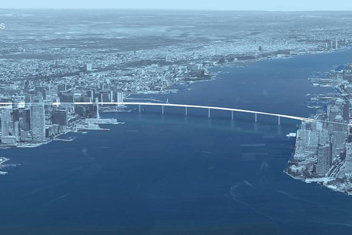 A proposal calls for a pedestrian bridge with cycle paths that measures a shade under a mile (1.5 km) in length