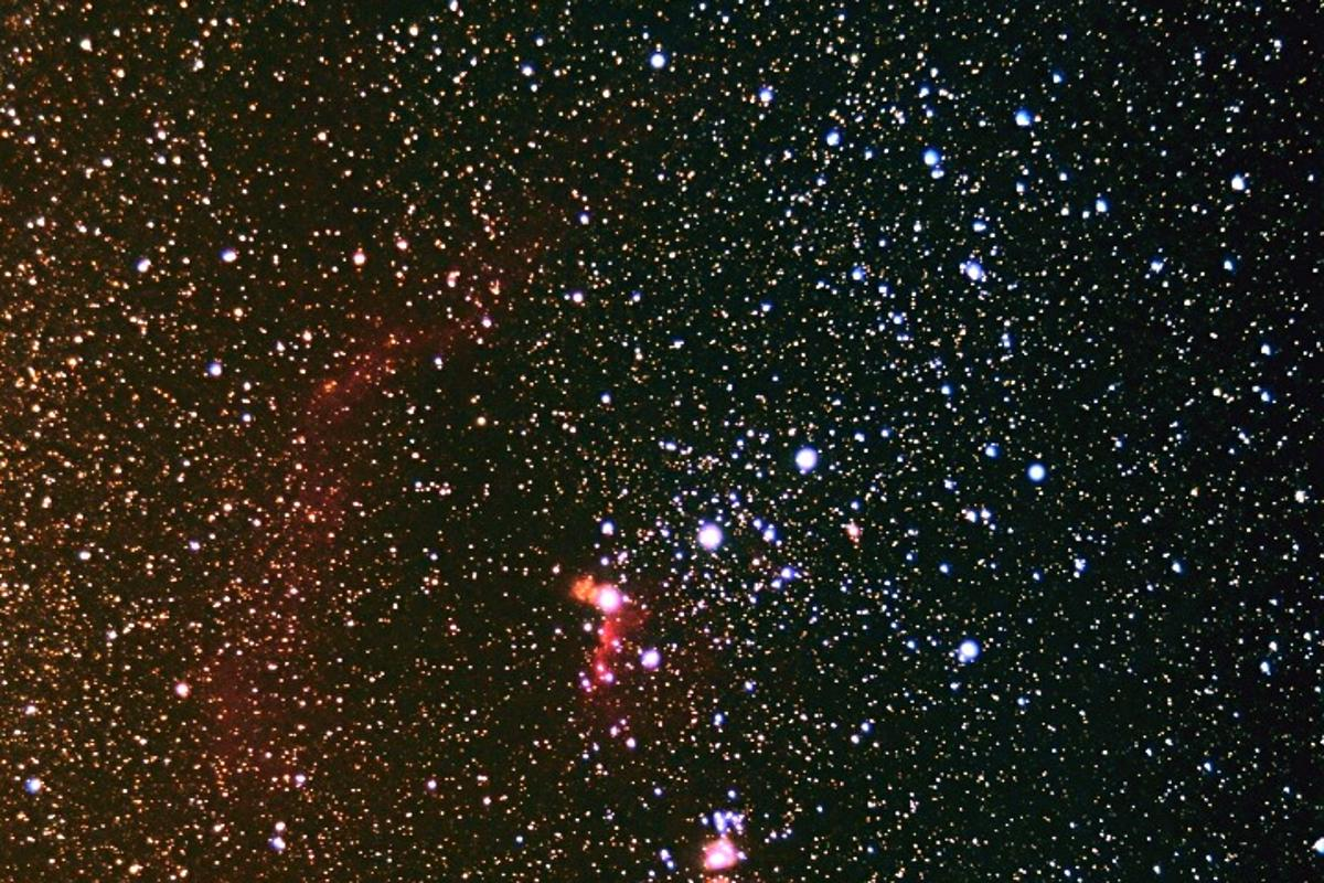 The bright orange Betelgeuse forms the shoulder of the constellation Orion