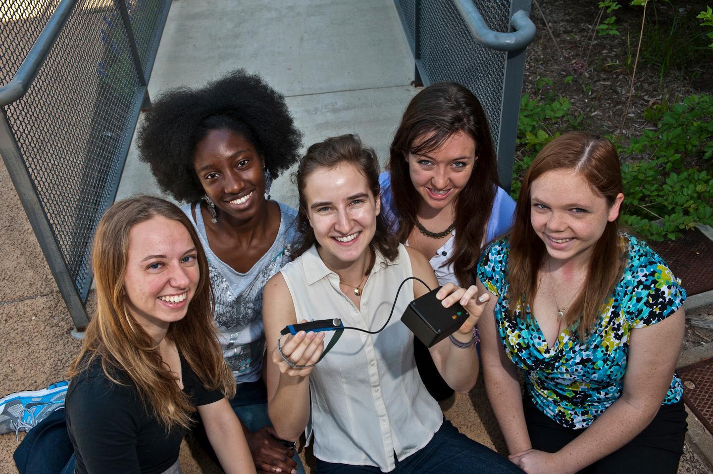 Team Breath Alert with the Babalung (from left: From left: Andrea Ulrich, Bridget Ugoh, Rachel Gilbert, Jordan Schermerhorn and Rachel Alexander)