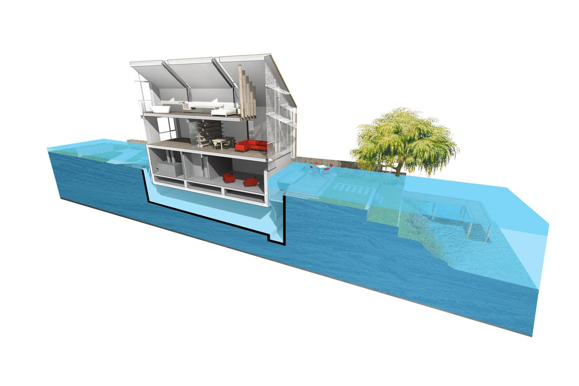 During a flood situation the entire building is designed to rise up in its dock and float there, remaining buoyed by the flood waters