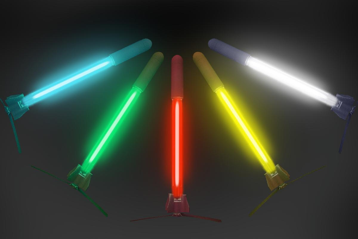 The emissions-free Rammaxx rocket's LED strip can be set to flash in different colors and patterns