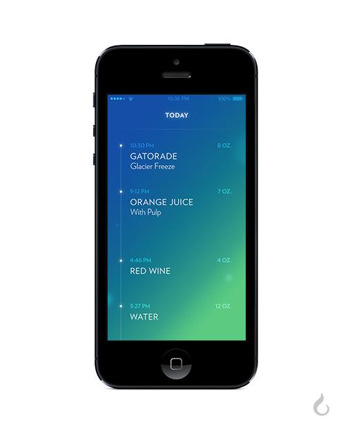 Vessyl app showing daily beverage intake