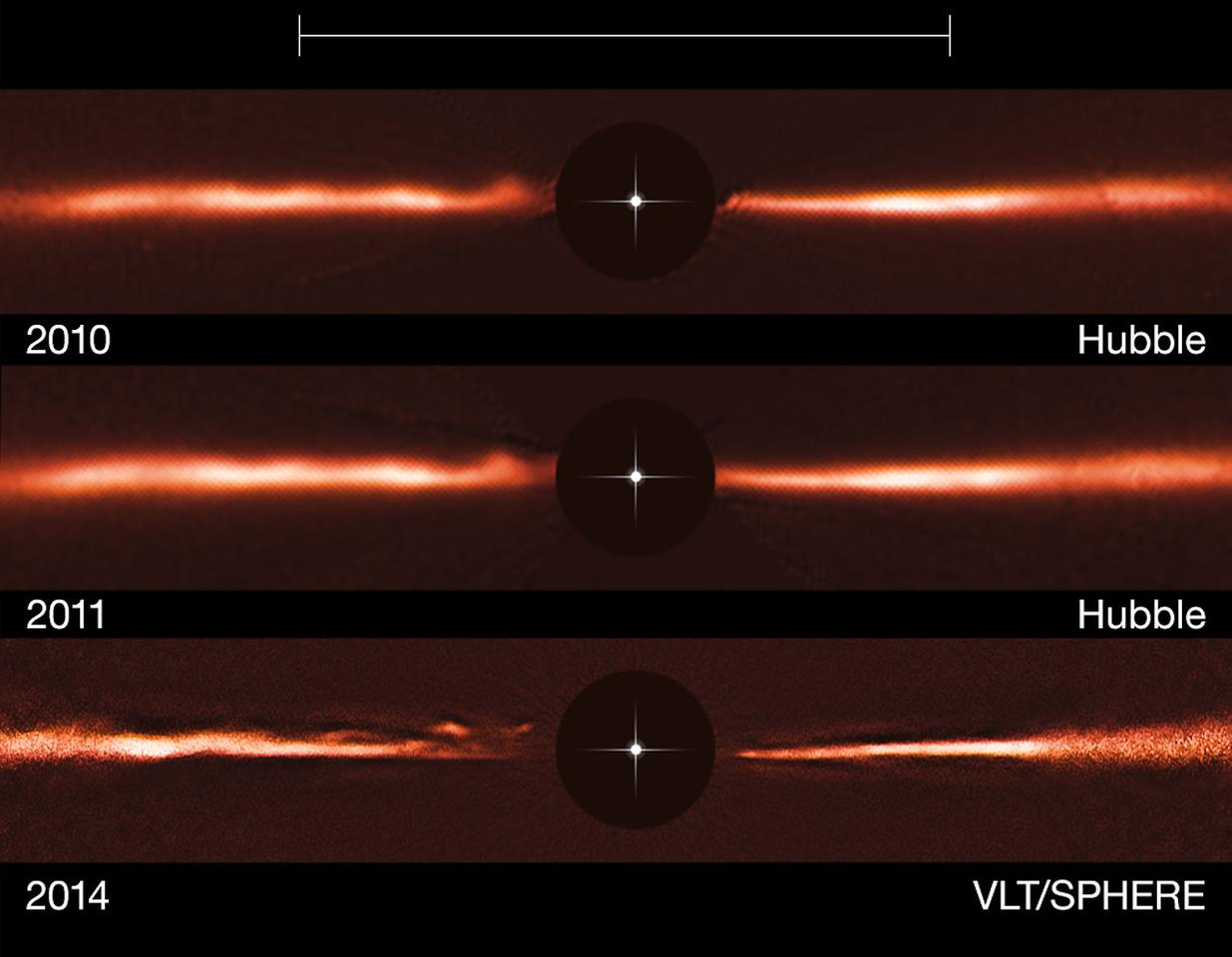 The scientists say that the objects are moving too quickly to resemble conventional disc features that might be pulled away by nearby objects, such as planets orbiting the star