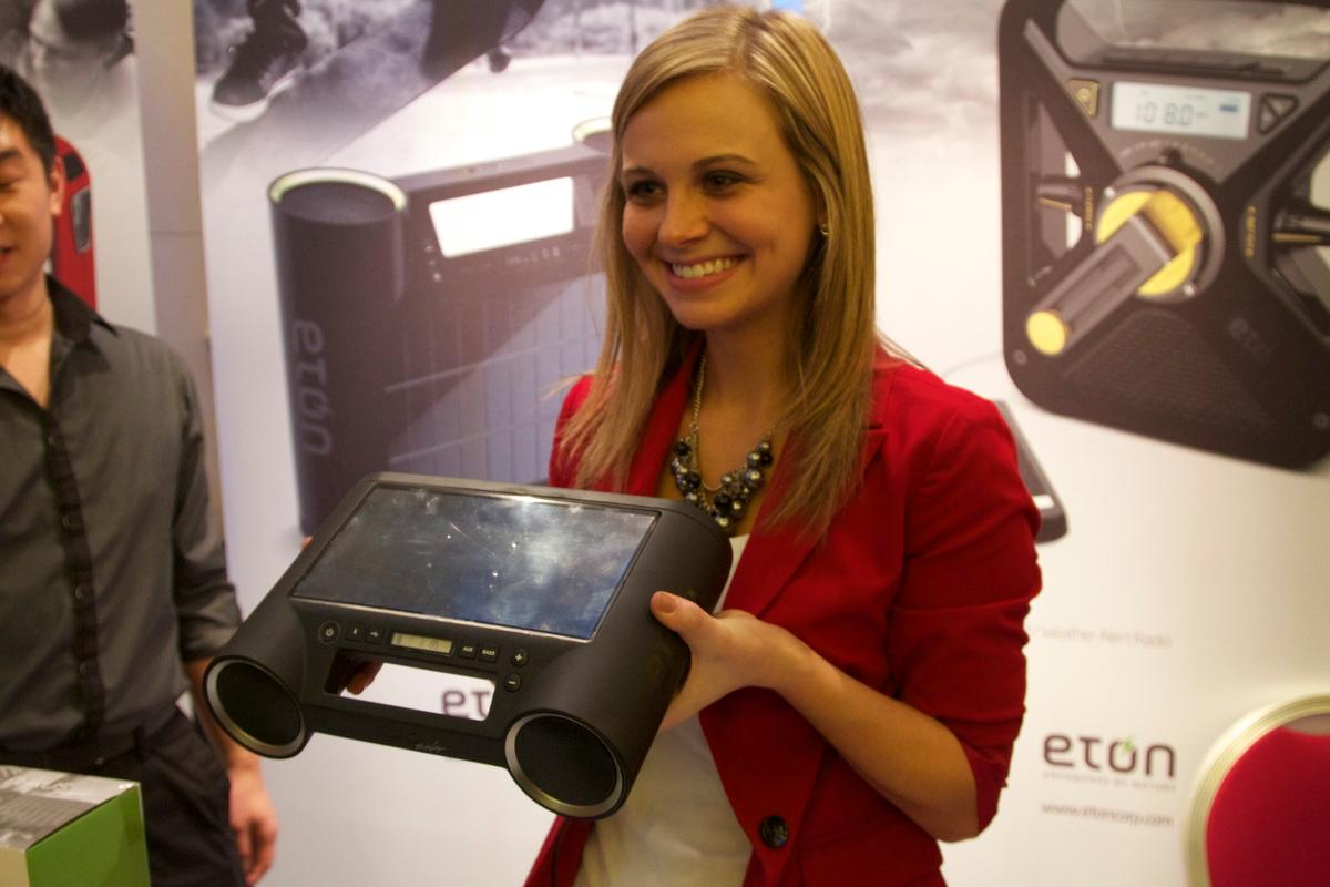 The Rukus Solar portable Bluetooth sound system's lithium ion battery can be charged by the unit's solar panel