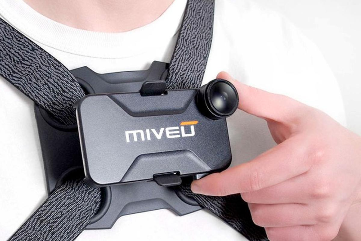 The Miveu-X is an iPhone case that converts the phone into a chest-mounted actioncam