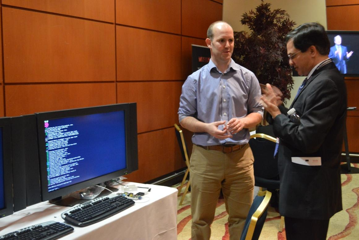 Eben Upton (left) at the Raspberry Pi demo stand at Technology Frontiers
