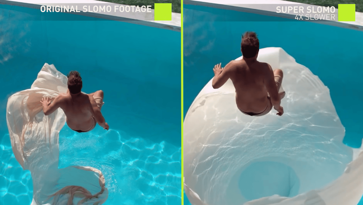 The system can artificially generate intermediate frames to transform any video into slow-motion footage