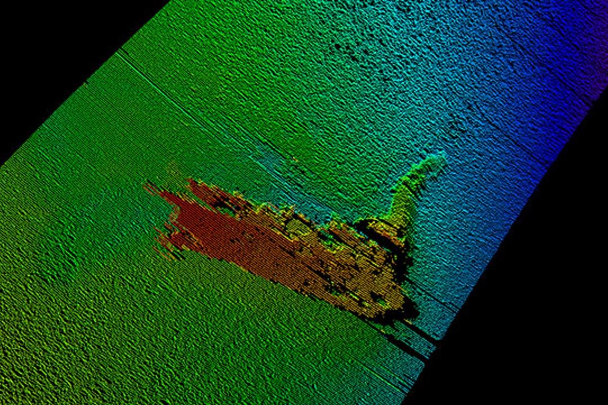 The remains of the Loch Ness monster model (sonar image pictured) resting on a crest on the bottom of the loch