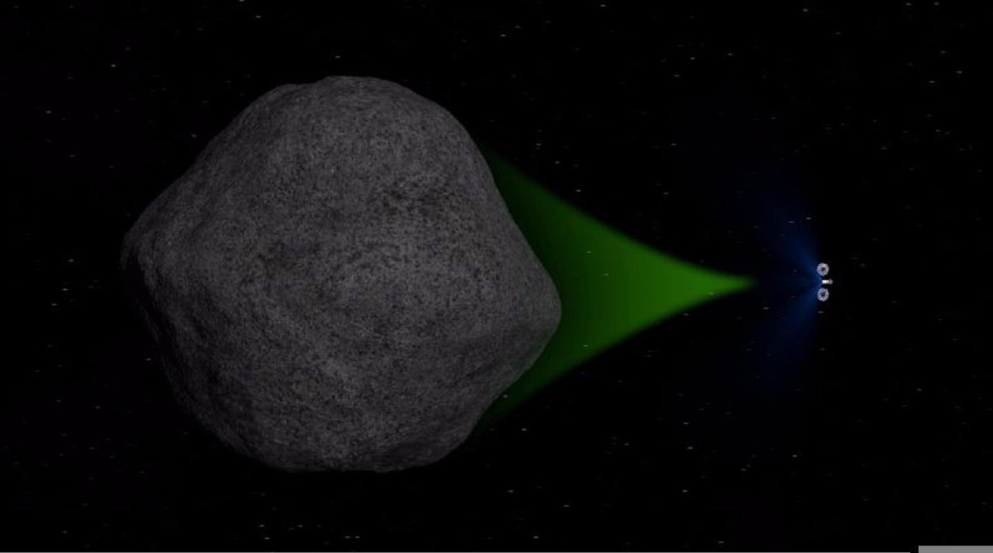 Robotic probe using its gravity to tow an asteroid