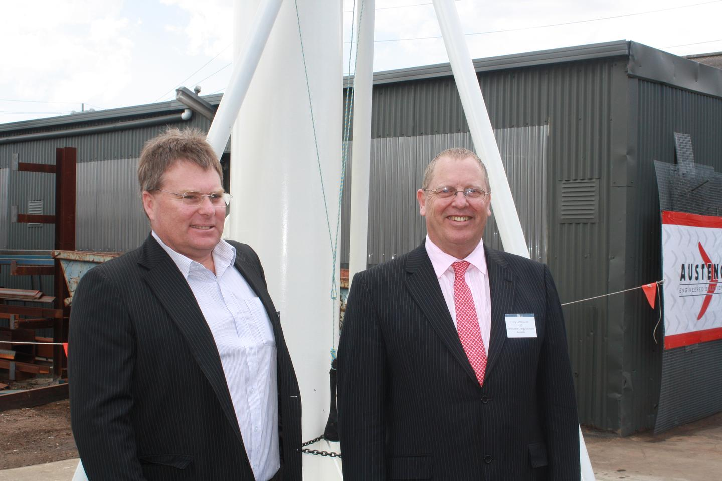 Councilor Rod MacDonald, City of Greater Geelong pictured with Tony Le Messurier, CEO of Renewable Energy Solutions Australia Holdings Ltd at the unveiling of the Eco Whisper Turbine