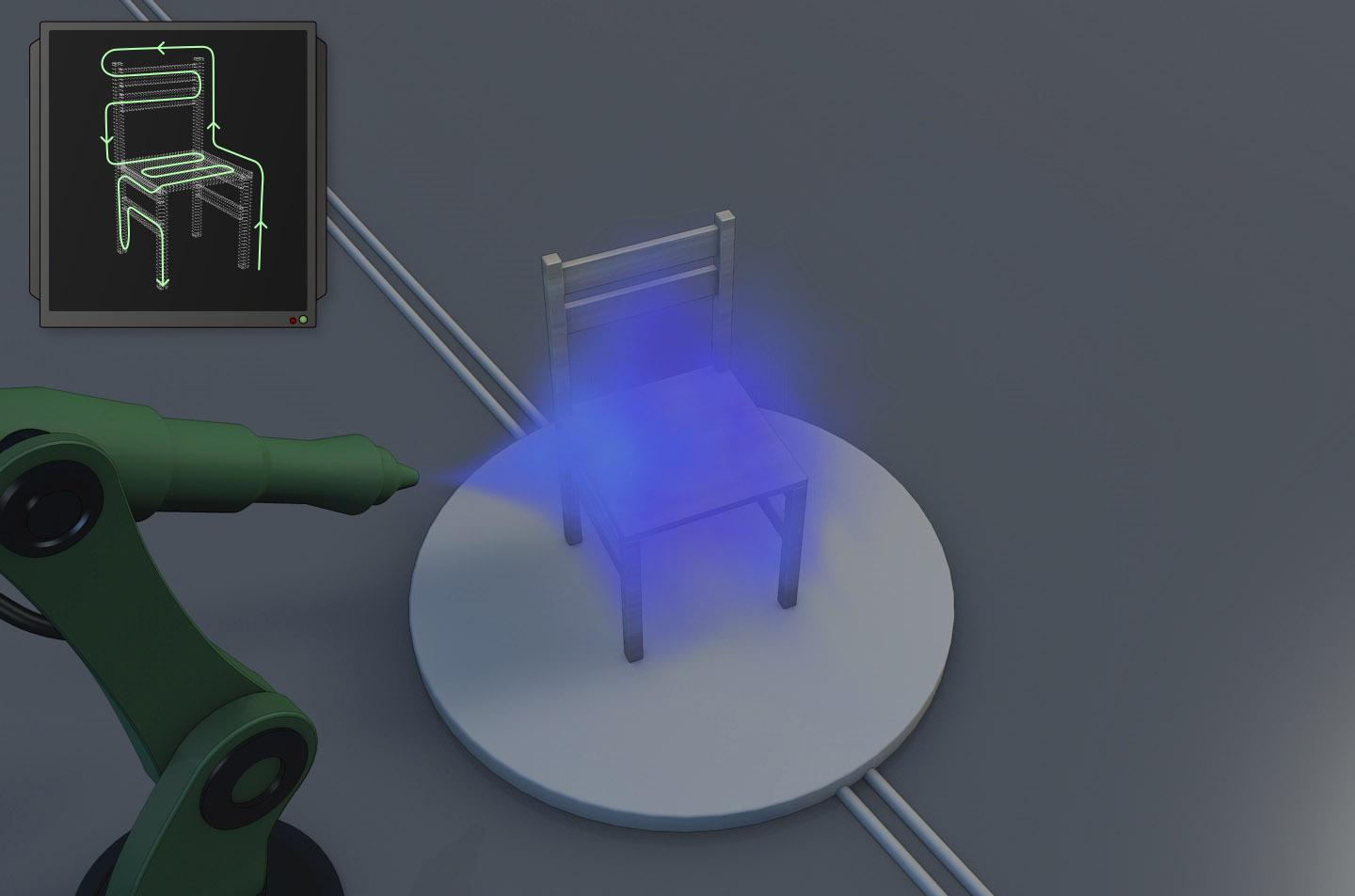 """A SelfPaint-guided robot paints a chair, with its calculated """"painting path"""" seen in the inset"""