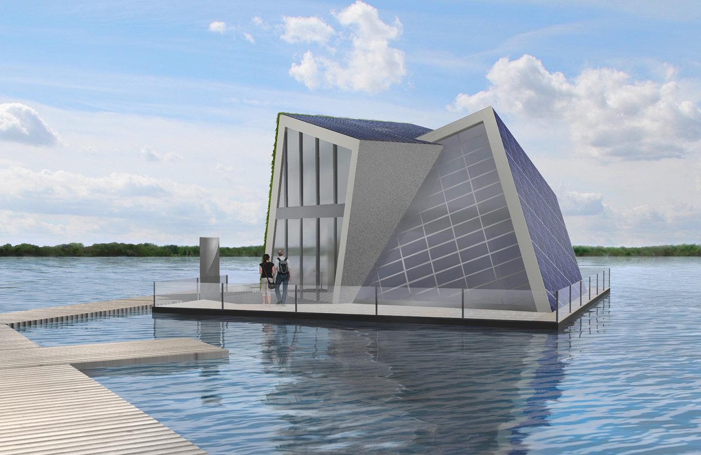 Building design of a floating house that provides its own heat and water