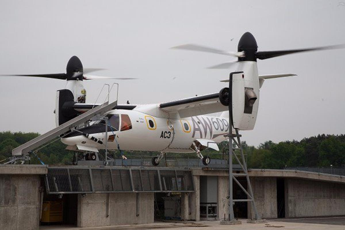 Aircraft AW609 A/C3 recently underwent restrained ground testing in Italy