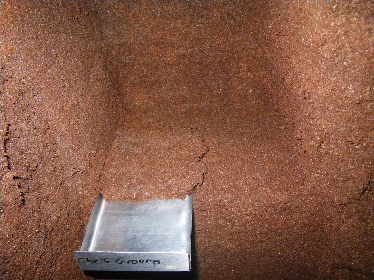 The bottom of the area from which the core sample was taken